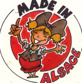 Variante du logo Made in Alsace avec une alsacienne