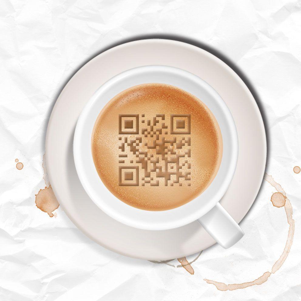 tableau qr-code tasse de café