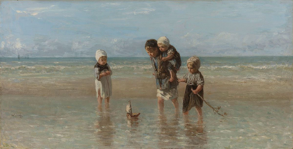 Tableau d'enfant sur une plage